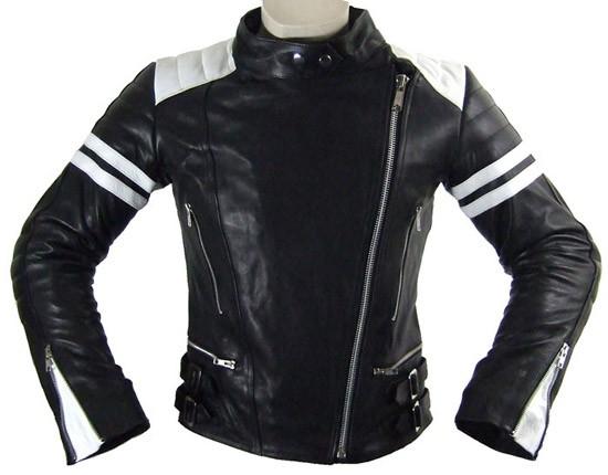 motorrad lederjacke damen, Damen Motorrad Lederjacke Frontansicht