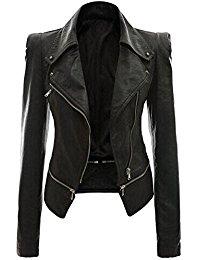 motorrad lederjacke damen, Ghope Damen Kunstleder Jacke Motorradjacke Ladies Oberbekleidung Lederjacke Outwear